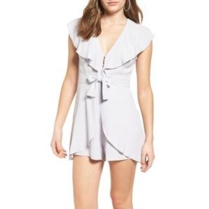 ASTR the Label Ruffle Tie Front Romper XS lilac